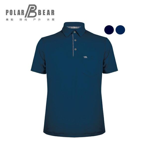 【POLARBEAR】男吸濕排汗快乾彈性本布短袖開釦POLO衫