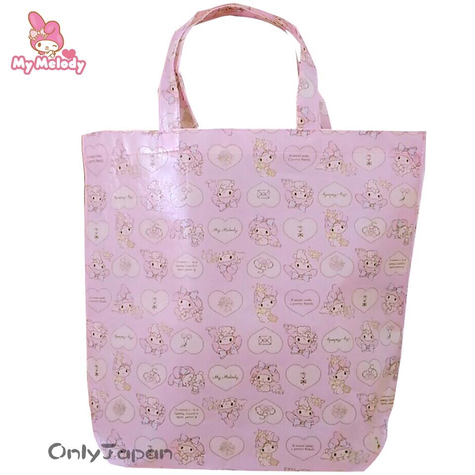 【真愛日本】18012500008 環保手提袋-MM玩偶愛心 三麗鷗 melody 美樂蒂 手提袋 環保袋 購物袋