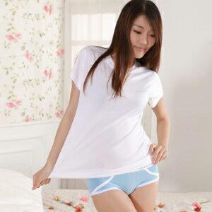 【魔法施】Sexii Hippo【水水藍】白線條混搭性感中腰彈力貼身內褲(女8230三角褲)