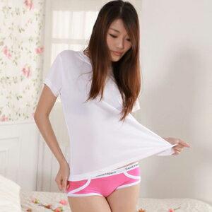 【魔法施】Sexii Hippo【甜蜜粉】白線條混搭性感中腰彈力貼身內褲(女8230三角褲)