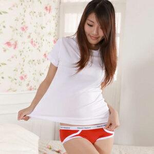 【魔法施】Sexii Hippo【熱戀紅】白線條混搭性感中腰彈力貼身內褲(女8230三角褲)