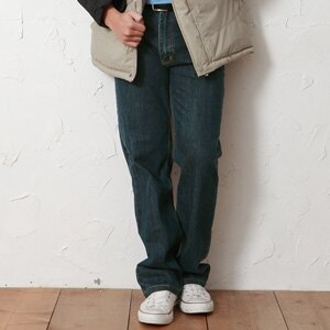 【魔法施】AYBORTEH伸縮彈力【絨毛內裡】保暖防風中腰大尺碼個性牛仔褲 - 限時優惠好康折扣