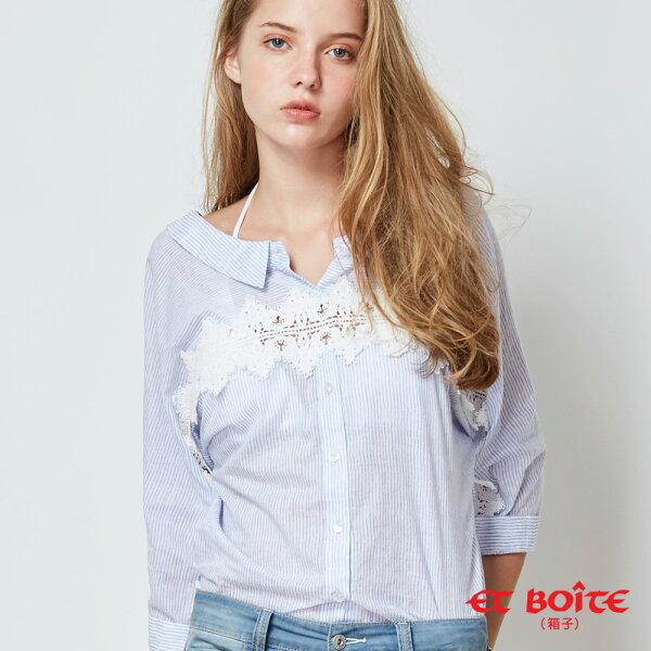 【春夏新品】前後兩穿條紋蕾絲七分袖襯衫(藍)-BLUEWAYETBOiTE箱子
