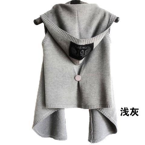 毛線針織連帽背心外套 (現貨+預購)
