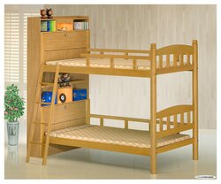 【欣生活】多功能書架 3.5尺雙層床 白木 實木《台灣製》