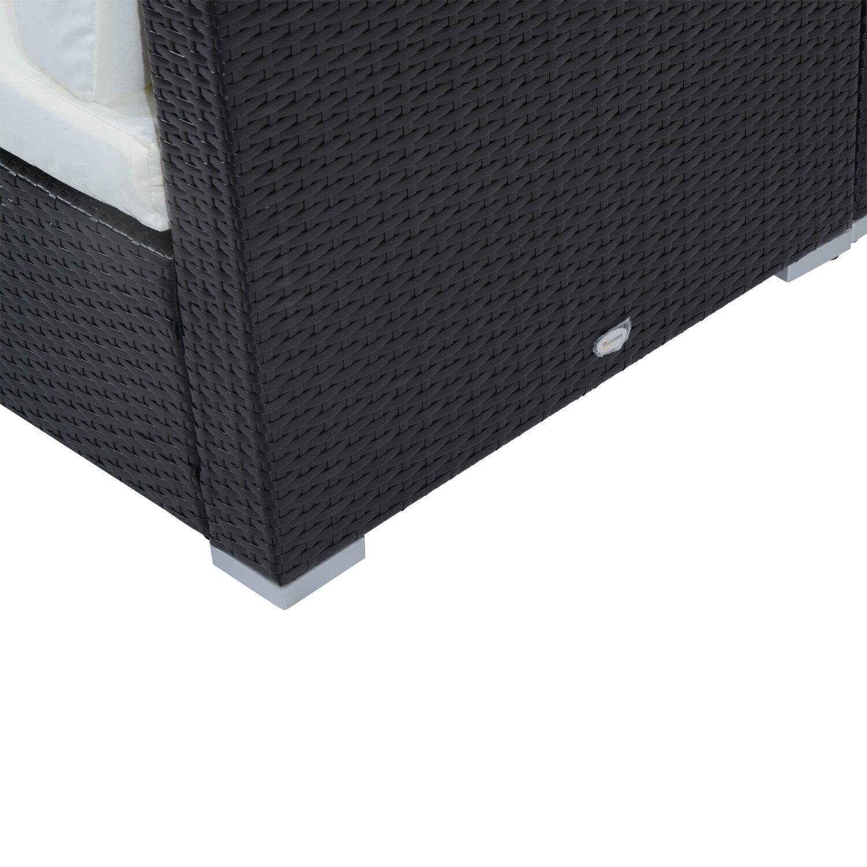 Outsunny 7 Piece Outdoor Patio Rattan Wicker Sofa Sectional Set - Cream 6