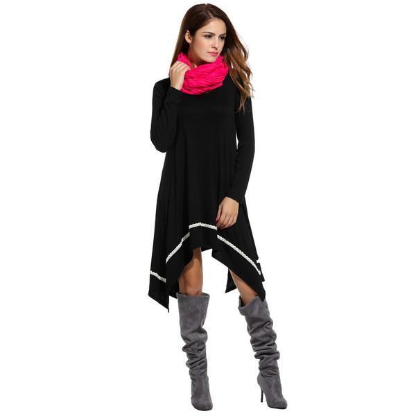 Women Casual Long Sleeve Loose Irregular Lace Hem Tunic Dress 0
