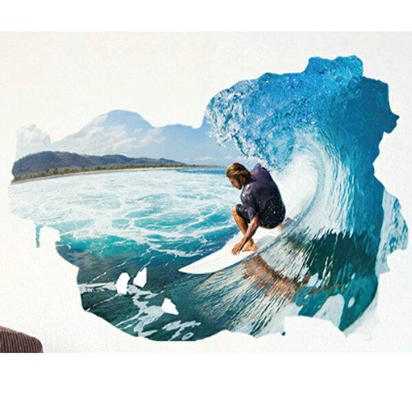 BO雜貨【YV2945-1】新款壁貼無痕創意壁貼3D立體窗景海灘衝浪運動SK9065