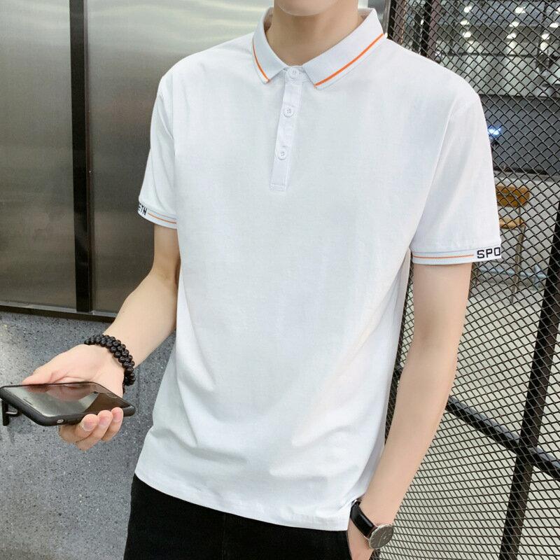 2021短袖polo衫男夏季新款休閒純色t恤半袖翻領衣服男士修身上衣