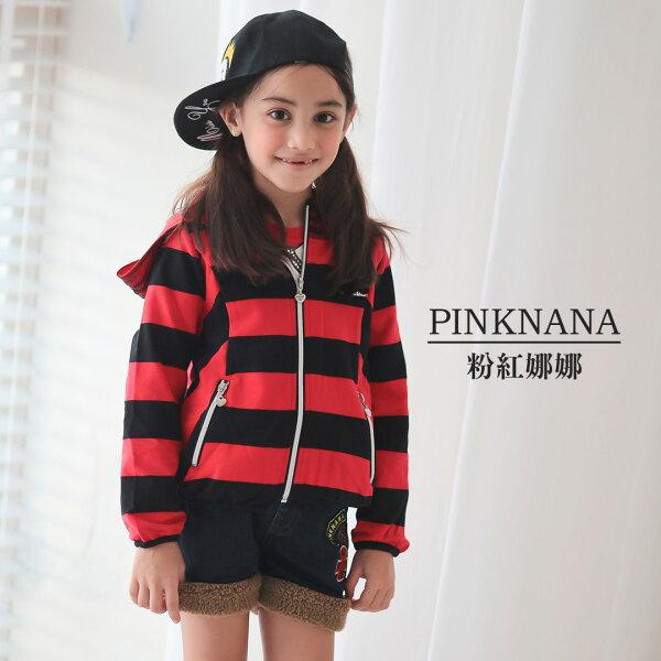 Pink Nana:PINKNANA童裝女童秋冬條紋個性網紗連帽外套35157