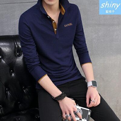shiny藍格子:【Y161】shiny藍格子-個性穿著.韓版修身配色翻領有釦長袖POLO衫