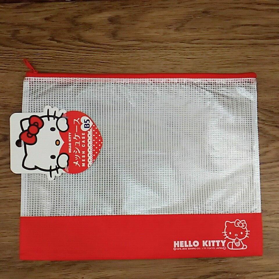 【真愛日本】17122000027 網格拉鍊B5收納袋-KT紅桃兩款 三麗鷗家族 kitty 文件收納袋 學生文具袋