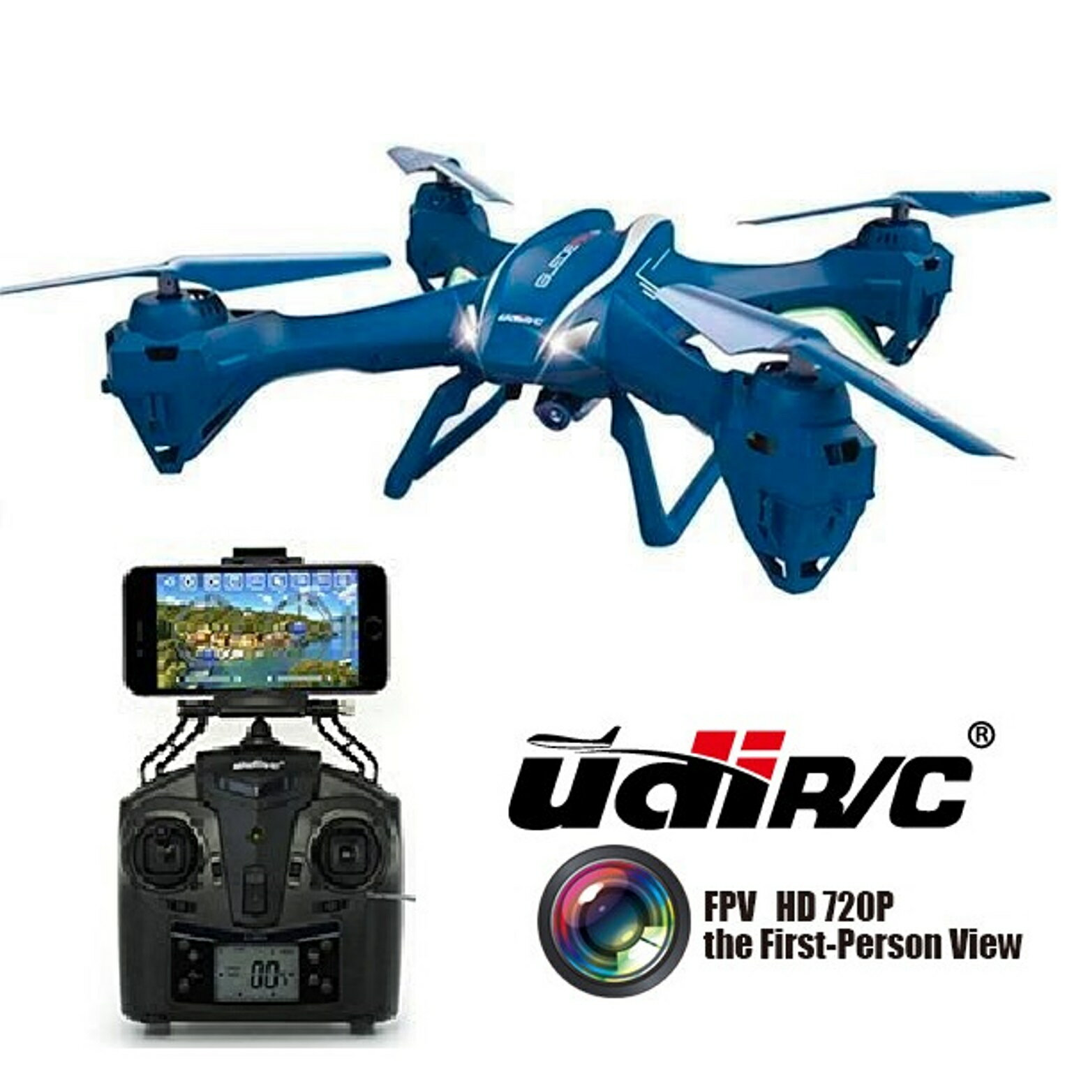 UDI U842 WiFi FPV Quadcopter Drone with HD Camera - First Person View and VR Live Streaming - Blue 0