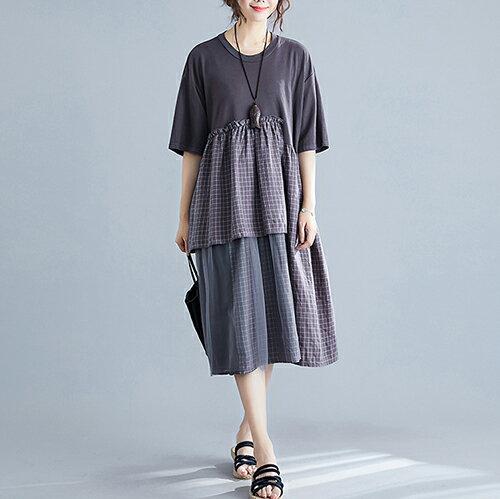 拼接格子下擺網紗中長款連身裙(2色L~XL)【OREAD】 0