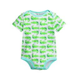 鱷魚印花短袖連身包屁衣 短袖 信封領 橘魔法Baby magic  現貨 兒童 童裝