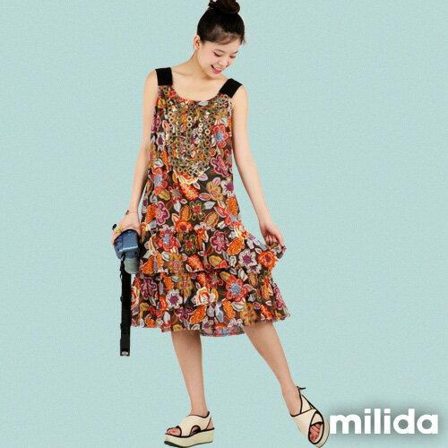 【Milida,全店七折免運】-夏季商品-無袖款-長版百摺洋裝 0