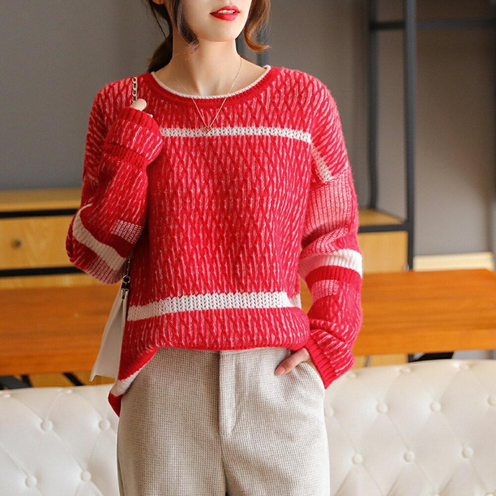 寬鬆套頭圓領針織打底衫毛衣(紅色S~2XL)*ORead* - 限時優惠好康折扣