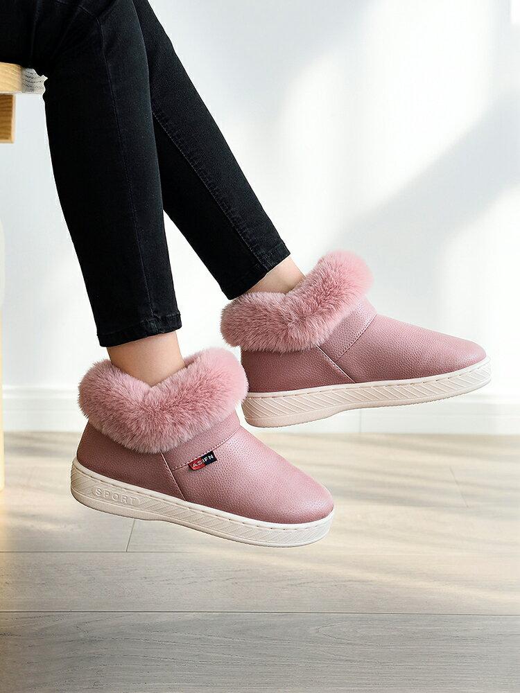 秋冬季PU皮防水棉拖鞋女包跟家居