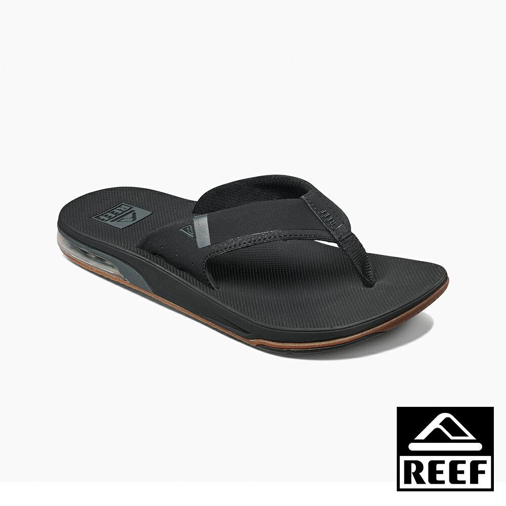 【新品上市迎新送舊↘】REEF 氣墊開瓶器升級版 一體成形織帶 舒適好穿防滑耐磨 經典男款夾腳人字拖鞋 . 黑