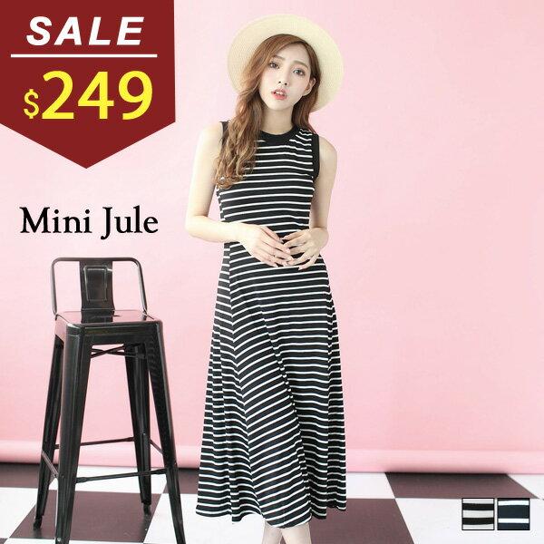 ~ ~洋裝 橫條傘擺長版無袖洋裝 小豬兒 MiNi Jule ~YTD71001812~
