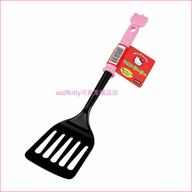 asdfkitty可愛家☆KITTY粉柄尼龍有洞鍋鏟/煎匙-不沾鍋適用-不傷鍋身-耐熱180度-日本製
