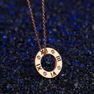 【5折超值價】時尚精美特色羅馬數字鑲鑽造型男款項鍊