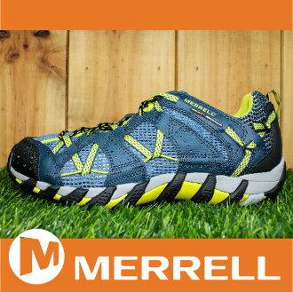 【3月 MERRELL限時7折】MERRELL WATERPRO MAIPO 水陸兩用鞋 男款 低筒健行鞋 快乾透氣 深藍/萊姆 萬特戶外運動