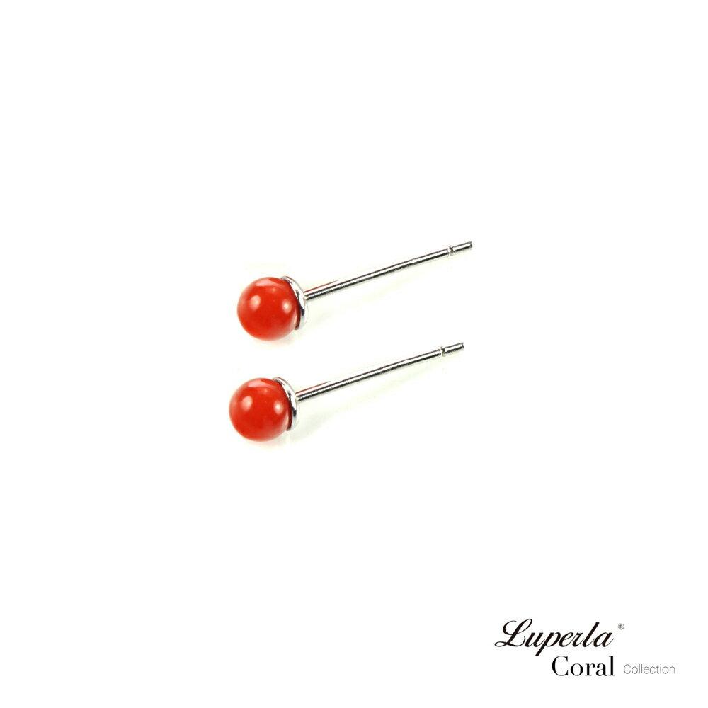大東山珠寶 天然全紅沙丁珊瑚3-4mm針式貼耳耳環 0