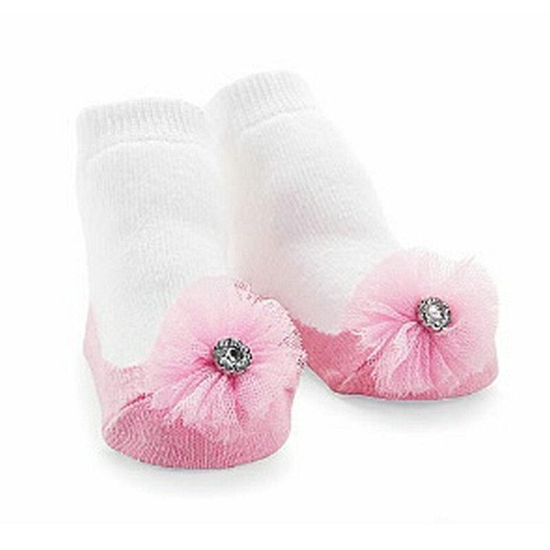 【hella 媽咪寶貝】美國 Mud Pie 時尚造型棉襪/止滑襪/假鞋襪/嬰兒襪 蕾絲鑽小花