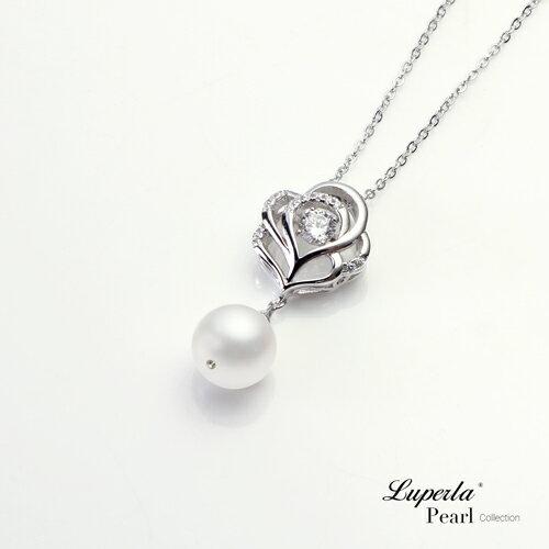 大東山珠寶 綻放 日本AKOYA天然海水珍珠純銀晶鑽項鍊 1