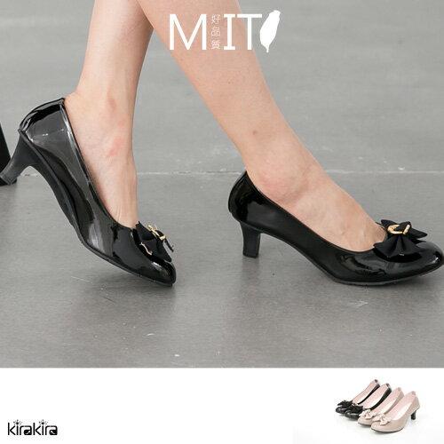 高跟鞋  SALE 優雅蝴蝶結軟鏡面高跟鞋【011500918】-預購