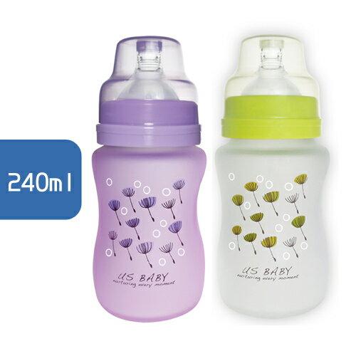USBABY優生真母感特護玻璃瓶(寬口徑)240ml(綠紫)【單入】【悅兒園婦幼生活館】