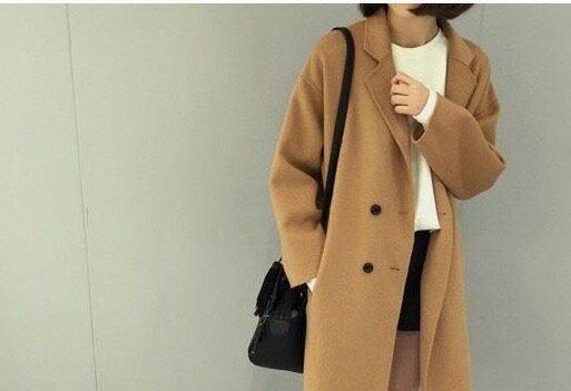韓版冬裝新款氣質歐美風Polo領斗篷型毛呢外套長款毛呢大衣