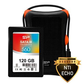 Silicon Power SSD懶人升級套裝組:S60/120GB超薄SSD, A30硬碟抗震外接殼, 系統複製軟體 SP120GBSS3S60S27
