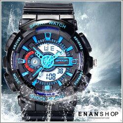 惡南宅急店【0545F】韓版手錶 防震運動錶防水錶電子錶夜光錶LED錶路跑錶 女錶男錶對錶