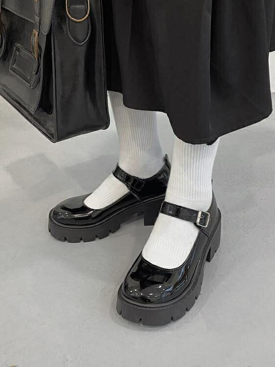 圓頭小皮鞋女英倫風2021春日系jk制服黑色厚底一字扣瑪麗珍鞋單鞋 四季小屋