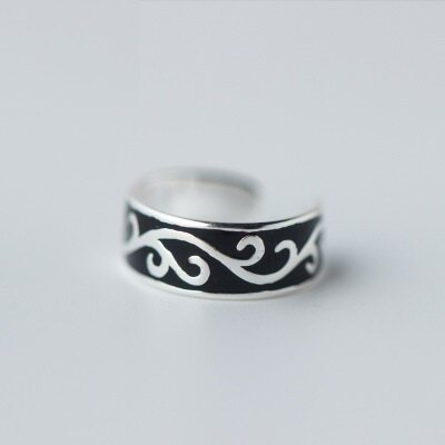 925純銀戒指開口戒~ 黑色獨特刻紋七夕情人節 女飾品73dt437~ ~~米蘭 ~