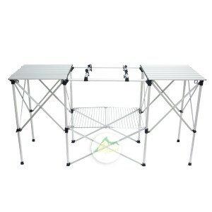 【露營趣】中和安坑 GO SPORT 92322 爐架附雙桌 廚房料理桌 行動廚房 廚桌 休閒桌 置物架