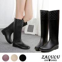 雨靴、雨鞋推薦到ZALULU愛鞋館 JK013 預購 防水菱格紋壓邊時尚磨砂面高筒雨靴-黑/紅棕36-40就在ZALULU愛鞋館推薦雨靴、雨鞋