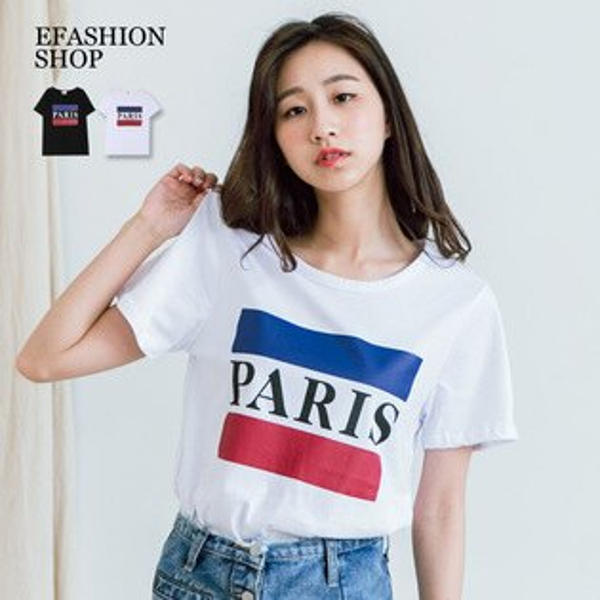 棉T-PARIS藍紅棉質上衣-eFashion預【H10139570】