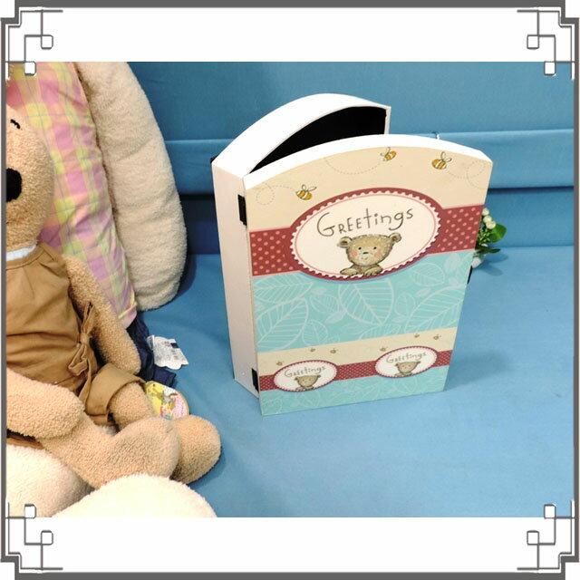 皮革KEY BOX《LK19-1》可愛小熊木製皮革鑰匙盒 收納盒 壁櫃 壁飾 居家布置◤彩虹森林◥