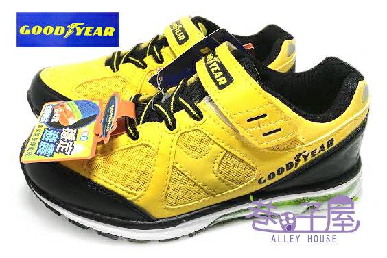 【巷子屋】GOODYEAR固特異 G-AIR 男童全腳跟式穩定避震專業氣墊運動慢跑鞋 [48904]黑黃 超值價$498