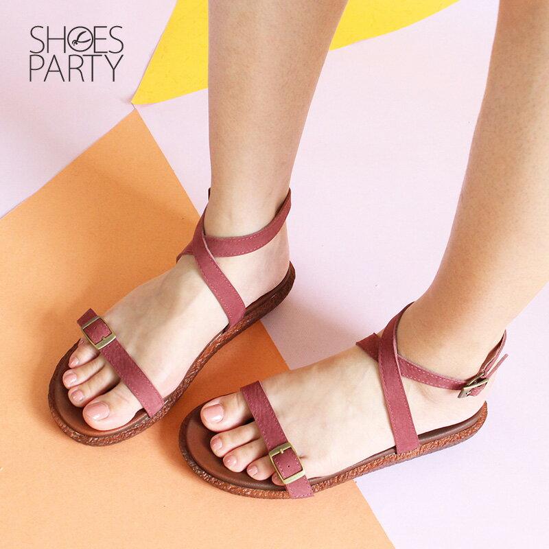 【S2-18706L】Simple+可調寬度,繞帶Q彈漢堡底涼鞋_Shoes Party 3