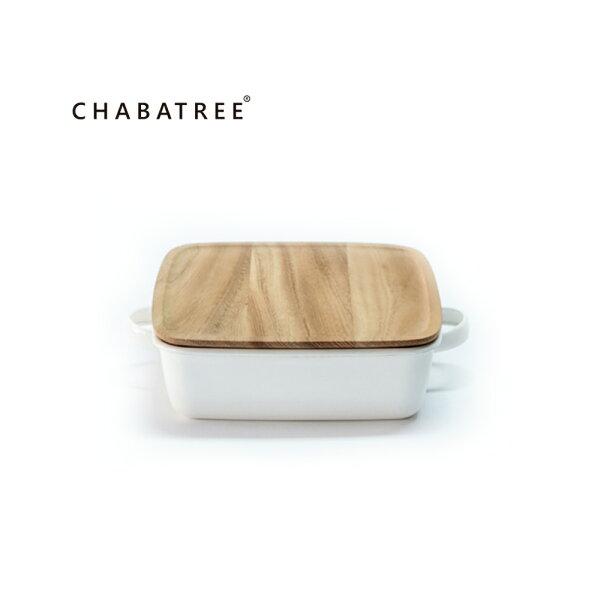 泰國Chabatree琺瑯雙把正方烤盤(白)