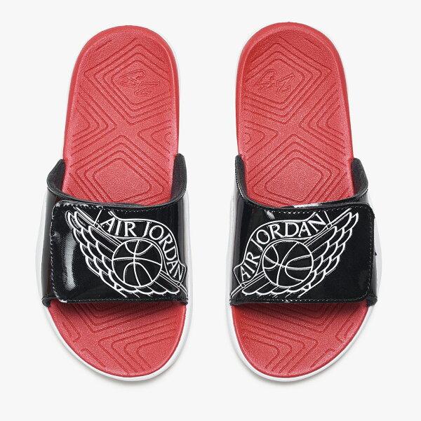 NikeJordanHydro7PS童鞋中童拖鞋魔鬼氈黑紅白【運動世界】AA2518-001