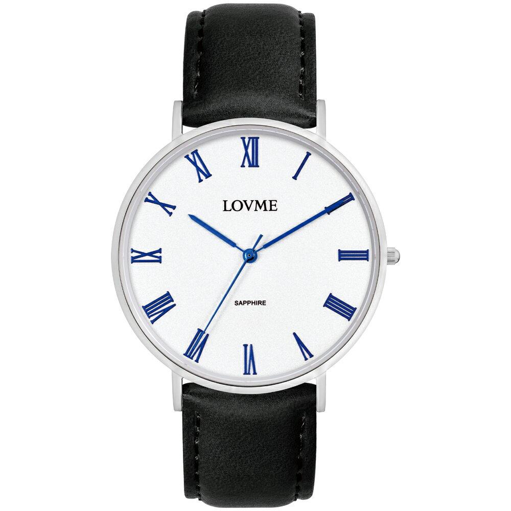 【易奇網】LOVME 羅馬學院風時尚婉錶-不鏽鋼錶殼x義大利素紋皮革黑色帶x經典羅馬字面板/41mm