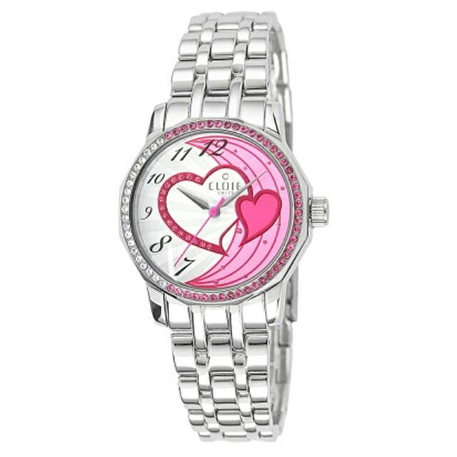 CLOIE 心心相印晶鑽不鏽鋼時尚腕錶-粉/33mm CL10175-VX20