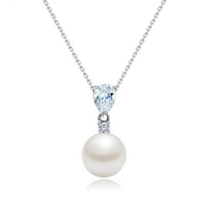 ~925純銀項鍊 鍍白金鑲鑽吊墜~ 水晶珍珠 生日母親節 女飾品73ct93~ ~~米蘭