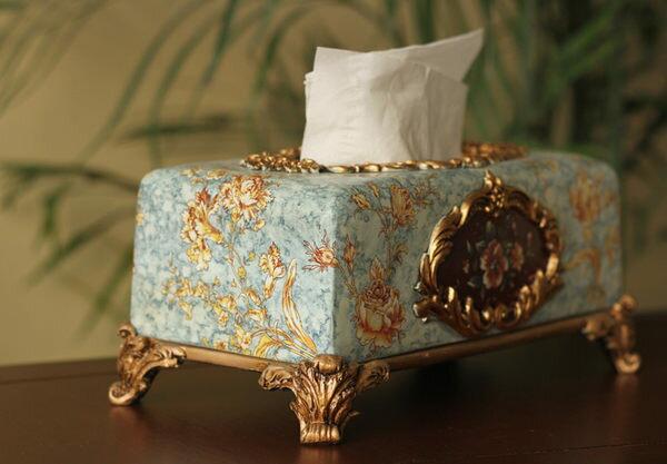 歐式高檔奢華長方形紙巾盒藍色典雅