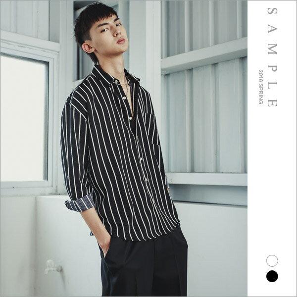 韓國製雪紡襯衫寬距細直紋【ST20224】-SAMPLE